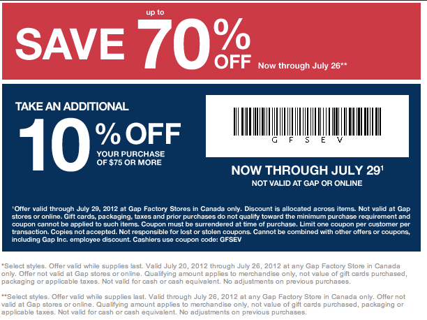 image about Gap Factory Printable Coupon identify Help save Far more at Hole Canada with this 30% Off Marketing Code