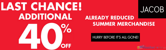 Extra 40% on Summer Items at Jacob.ca