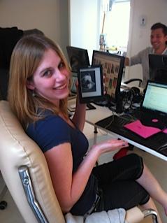 Erin with her Kobo eReader