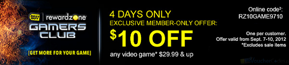 $10 off video games at Best buy