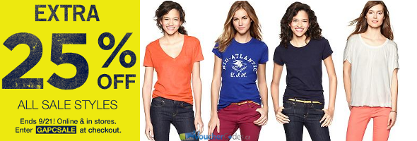 Extra 25% off sale items at Gap