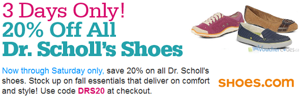 20% off on select styles at Shoes.com