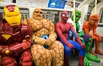 Superheroes on a train