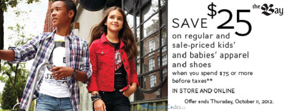 $25 off Babies and Kids gear at The Bay