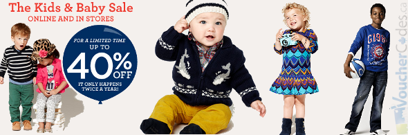 Up to 40% off baby and kids items at the gap