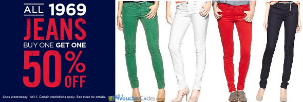 Buy one and get one 50% on 1969 jeans at Gap