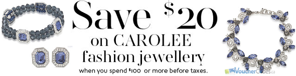 Save $20 when you spend $100 on Carolee Fashion jewellery