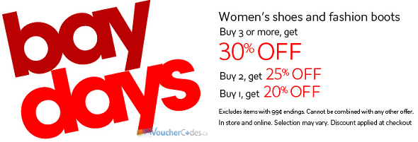 Up to 30% off select women's shoes at the Bay