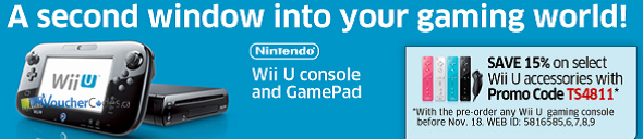 15% off Select Accessories when you pre-order a Wii U