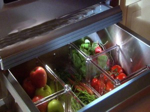 Fruits and vegetables in the refrigerator crisper