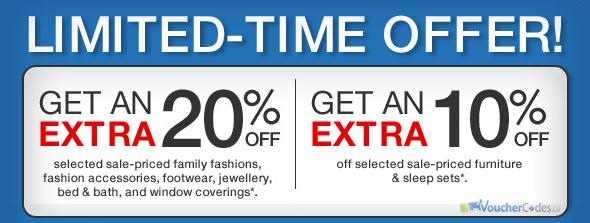 Up to 20% off select items at Sears Canada