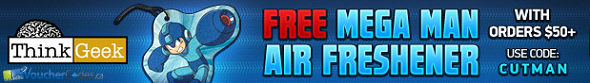 Free Mega man Air Freshener from Think Geek with purchase