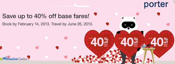 Up to 40% off Base fares at Porter Arilines