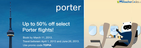 Up to 50% off Porter Flights at Buytopia.ca