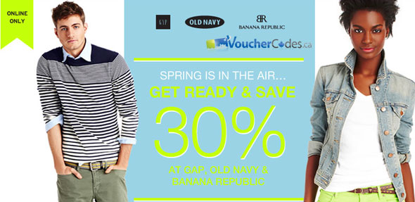 Save 30% at Gap, Banana Republic & Old Navy