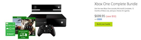 Xbox One $50 off the Complete Bundle