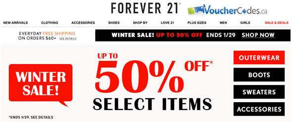 Extra 50% off at Forever 21
