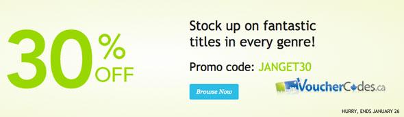 30% off select books at Kobobooks Canada