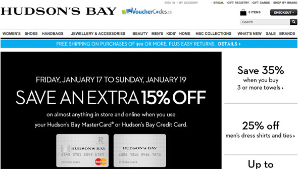 15% off The Bay